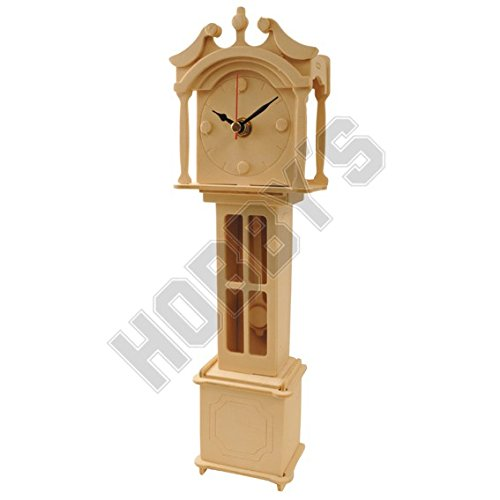 Grand Father Clock: Wood Craft Assembly Wooden Construction Clock - Kits Clock Wood