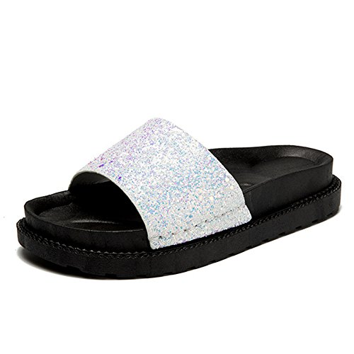 Flatform Strap White On Footbed Slip Flats Slipper YaMiFan Sandal Sandals Bling Slides Women's Bling HOXvw4