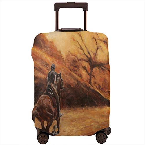 (Luggage Cover Horse Rider Unique Travel Suitcase Cover Protector Bag Dustproof Washable Fits 18-32 Inch Luggage)