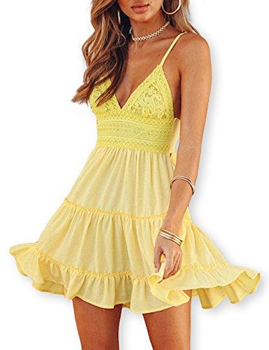 1bd482e6ce3b AOOKSMERY Women White Summer V-Neck Sexy Straps Lace Knee-Length Backless  Dresses