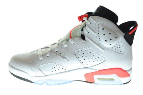 Nike Herren Air Jordan 6 Retro Leder Basketballschuhe Weiß / Infrarot-schwarz