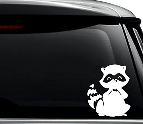 - Cute Raccoon Animal Decal Sticker For Use On Laptop, Helmet, Car, Truck, Motorcycle, Windows, Bumper, Wall, and Decor Size- [6 inch] / [15 cm] Tall / Color- Matte White