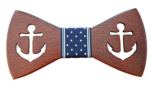 Wood Mood – Creative Navy blue Anchor Men's Handcrafted Wooden Novelty Bow Tie with Gift Box