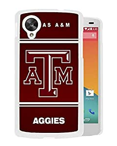 NCAA Texas A&M Aggies 04 White Customize Google Nexus 5 Phone Cover Case