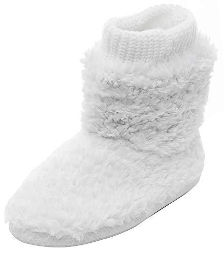 MIXIN Women's Warm Faux Fleece Fuzzy Indoor Outdoor Slipper Boots Shoes (9-10 M US Women, White) (Slipper Boot Womens Size 9)