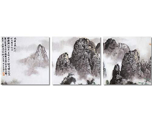 TutuBeer Chinese Landscape Paintings Prints On Canvas Chinese Canvas Art Landscape The Picture Traditional Chinese Art Prints Famous Chinese Landscape Painting Framed for Home Modern Decor,3pcs/Set