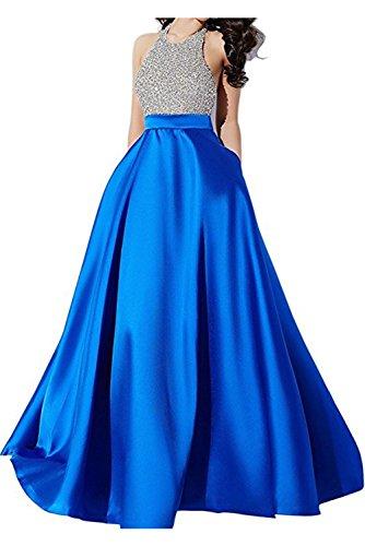 Royalblau A Ballkleid Neckholder lang Linie Abendkleid modisch Damen Partykleid Satin Schnuerung Rueckenfrei aermellos Ivydressing TwqE6Onxf7