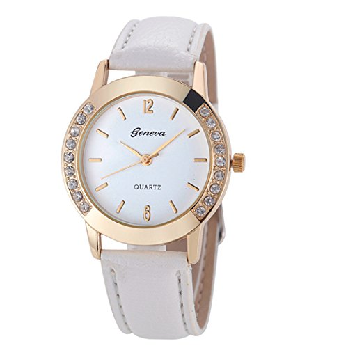 Quartz Ladies (Womens Quartz Watch,Geneva Unique Analog Fashion Clearance Lady Watches Female watches on Sale Casual Wrist Watches for Women,Round Dial Case Comfortable PU Leather Watch-H09 (White))