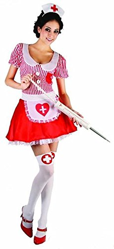 Candy Striper Nurse Outfit - Rimi Hanger Womens Candy Striper Adult Nurse Costume Dress Ladies Red White Sexy Outfit One Size (Fit US 4-10)