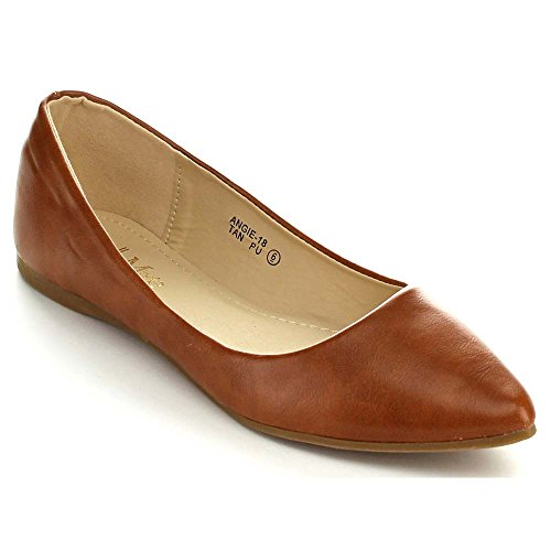Bellamarie Angie-18 Women's Classic Pointy Toe Ballet Flat Shoes, Color:TAN, Size:7.5