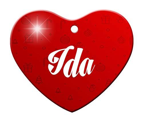 Makoroni - IDA Female Name Christmas Ornament (Heart Shape) - Heart Holiday Christmas Baby Shower Wedding Ornament -
