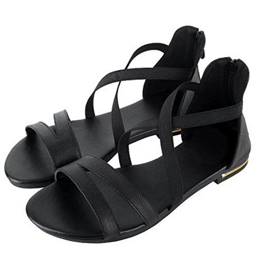 Solid Criss Shoes Black Toe Women Open TAOFFEN flat Zipper Comfortable Cross Sandals TqpU81w