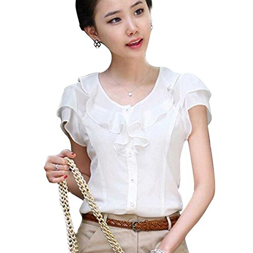 Aro Lora Women's Short Sleeve Round Neck Lotus Leaf Ruffle Shirt Blouse