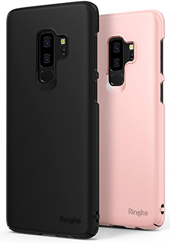 Ringke [Slim] Case Compatible with Galaxy S9 Plus Case [2 Pack] Dazzling Slender [Laser Precision Cutouts] Fashionable Superior Steadfast PC Hard Cover for GalaxyS9 Plus - Black & Peach Pink