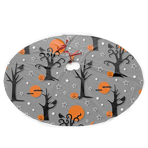 HHNYL Polyester Plush Cloth Christmas Tree Skirt Spooky Halloween Trees Christmas Party Decoration -