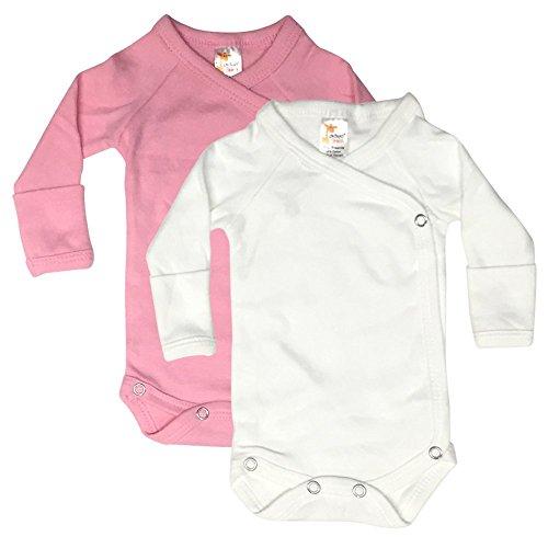 Laughing Giraffe Newborn Baby Girl Long Sleeve Kimono Bodysuit with Mittens (2-Pack) Pink/White