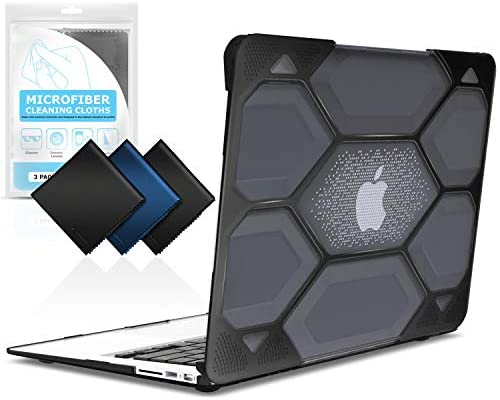 Black Heavy Duty Protective Hard Shell Case Cover for Apple Laptop Mac Air 11 IBENZER Hexpact MacBook Air 11 Inch Case A1370 A1465 HA11CYBK