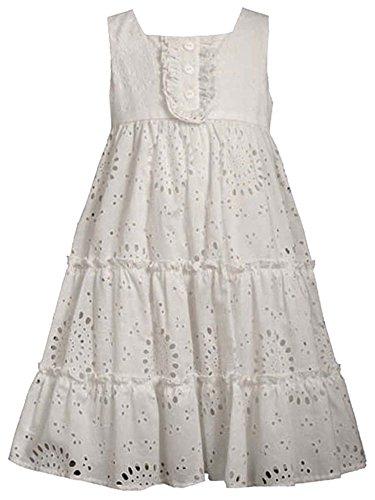 irls 2T-6X White Cotton Eyelet Tier Dress, White, 5 ()
