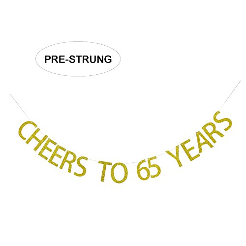 Gold Glitter Cheers to 65 Years Banner - 65th Birthday Party Decorations Celebration Ideas - NO ASSEMBLY REQUIRED