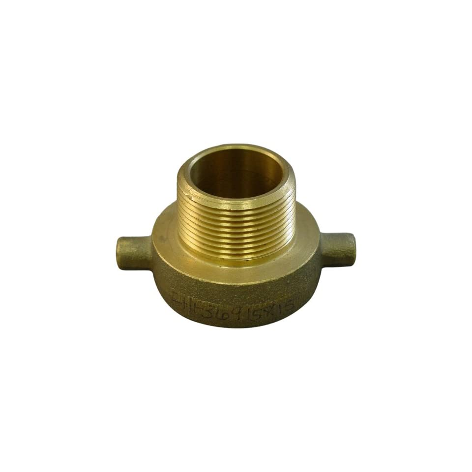 Moon 369 1511521 Brass Fire Hose Adapter, Pin Lug, 1 1/2 NPSH Female x 1 1/2 NH Male