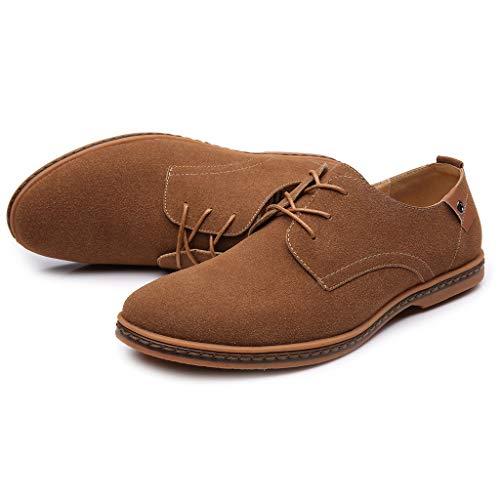 Con Hasta Hombre Comodidad Caqui Cuero Moda Zapatos Británico De Cordones Casual Estilo Oxfords Masculinos Masculina Btruely Negocios w1RvqBxR