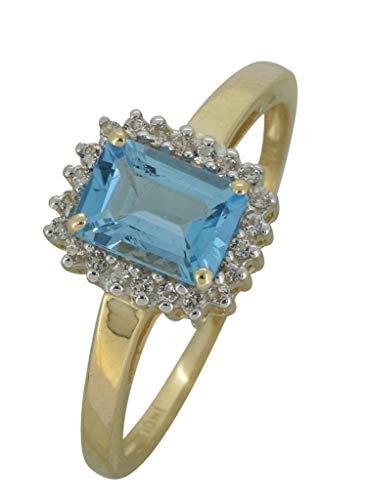 YoTreasure 1.10 Ct. Swiss Blue Topaz Solid 10K Yellow Gold Princess Ring (Blue Topaz Ring Size 10)