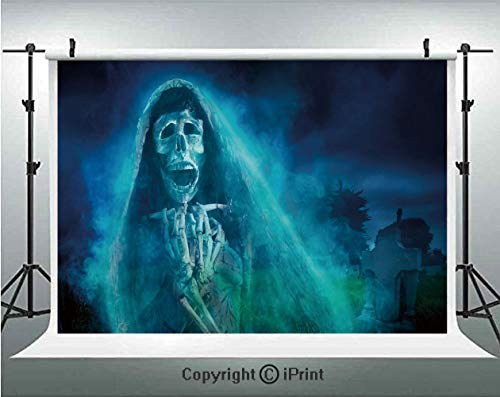 Halloween Decorations Photography Backdrops Gothic Dark Backdrop with a Dead Ghost Skull Mystical Haunted Horror Theme,Birthday Party Background Customized Microfiber Photo Studio Props,5x3ft,Blue ()