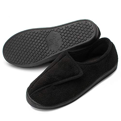 Git-up Women Memory Foam Diabetic Slippers Arthritis Edema Adjustable Comfortable House Shoes Closed Toe 10 Black