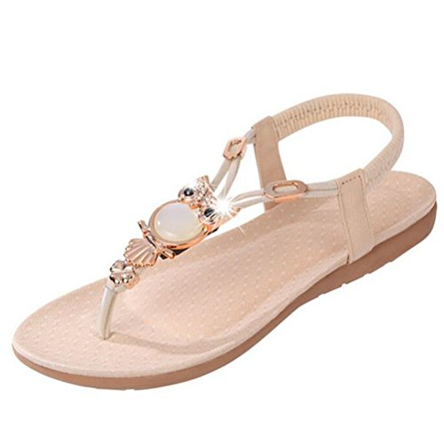 vovotrade 2016 La mujer Rhinestone búho clip toe sandalias zapatos sandalias de playa Beige