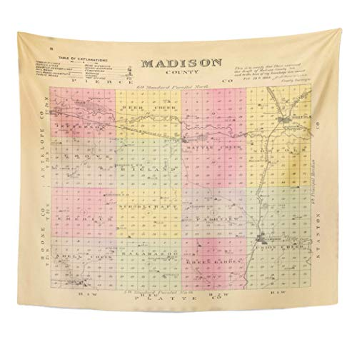 - Semtomn Tapestry Artwork Wall Hanging Nebraska Madison County Lithographed Map Hand Colored Shows Townships 60x80 Inches Home Decor Tapestries Mattress Tablecloth Curtain Print