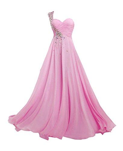 JAEDEN Vestidos de Baile Largo Gasa Vestido de Noche Vestido de la Dama de Honor Un Hombro Rosa