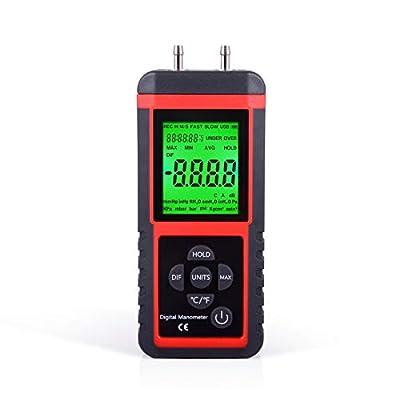 Ehdis Digital Manometer Air Pressure Meter Gas Gauge Reader with 32-bit MCU 24-bit ADC High Accuracy 12 Units Data Save or Hold