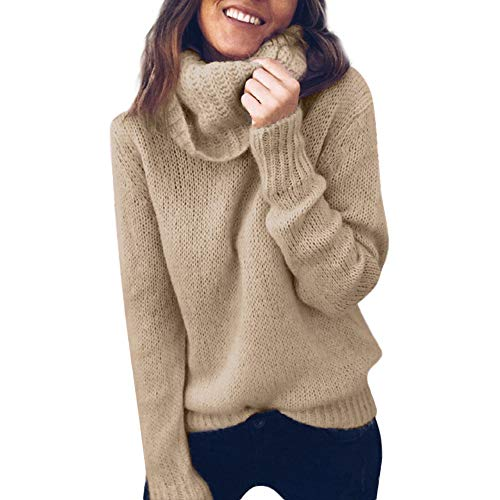 NREALY Sweater Womens Solid Long Sleeve Turtleneck Knitted