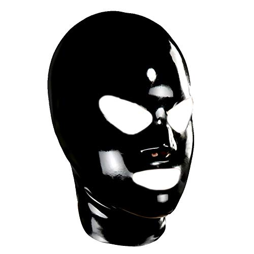 EXLATEX Unisex Latex Mask with Shaped Eyes Nose and Mouth Rubber Deadpool Hoods (Medium, Black)