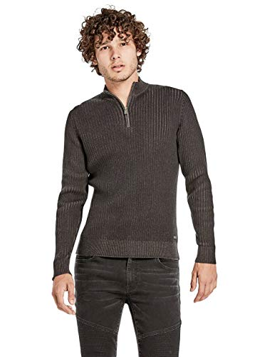 G by GUESS Men's Liam Zipped Sweater Jet Black ()