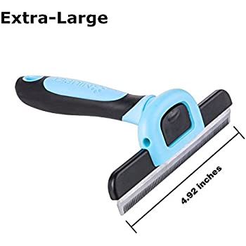 PET Deshedding Tool&Grooming Brush For Dogs, 125mm Wide Stainless Steel Safety Blade. Dramatically Reduces Shedding In Minutes (Blue)- by MIU PET