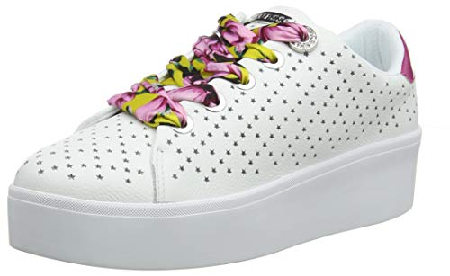 GUESS Women's Townser/Active Lady/Leather Gymnastics Shoes, White (Bianco), 6.5 UK