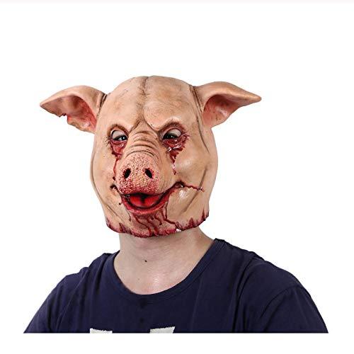 Scary Pig Mask Paper Meche - Horror Pig Overhead Animal Mask Latex