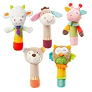 CiCy Cartoon Stuffed Animal Baby Soft Plush Hand Rattle Toys Infant Dolls Squeaker Sticks for Toddlers