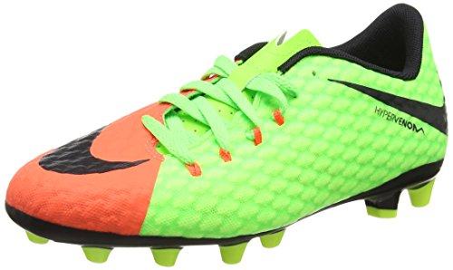 Nike Jr Hypervenom Phelon 3 Agpro, Botas de Fútbol Unisex Niños Verde (Elctrc Green / Blk-Hypr Orng-Vlt)