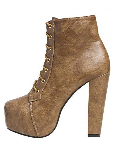 CASPAR FashionSBO059 - Botines con cordones Mujer Marrón - marrón