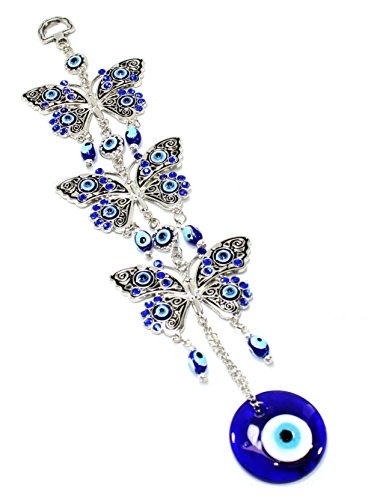 Turkish Evil Eye (Turkish Blue Evil Eye (Nazar) 3 Butterflies Amulet Wall Hanging Home Decor Protection Blessing Housewarming Birthday Gift US Seller)