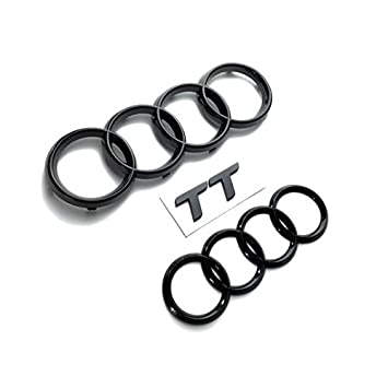 AUDI TT GLOSS BLACK REAR & FRONT RINGS BADGE EMBLEMS BONNET BOOT