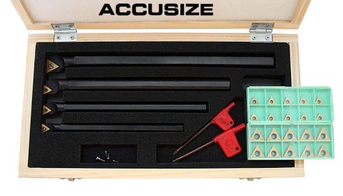 AccusizeTools - STUCR 31 Pcs/Set Indexable Boring Bar Set with 20 Pcs TCMT Inserts, Right Hand, P252-S412 Accusize Co. Ltd.
