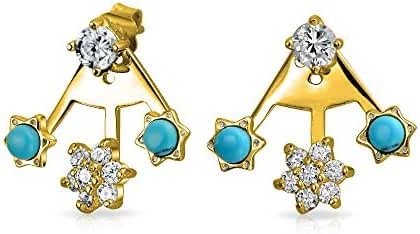 Bling Jewelry Gold Plated Silver Synthetic Turquoise CZ Flower Ear Jackets