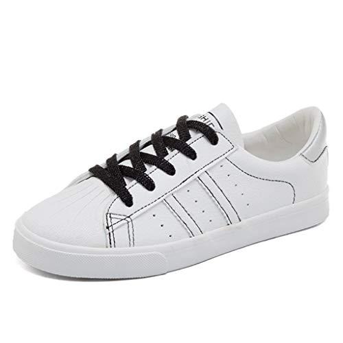 de con de Negro Zapatillas SHI de Moda de Bajas Mujer Respirables Ocasionales Blancas Cordones PU Zapatos Zapatillas Cuero n6EpdYTpwx