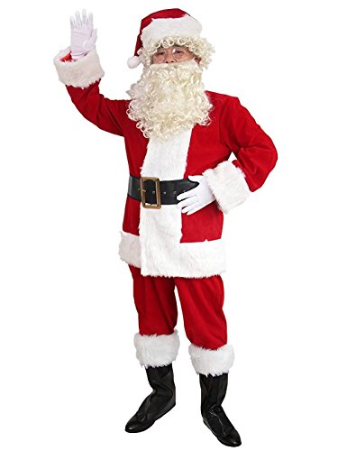 10 Pcs Complete Deluxe Velvet Christmas Santa Claus Costume Suit Adult (XL, Red) by Zollzirr (Image #3)