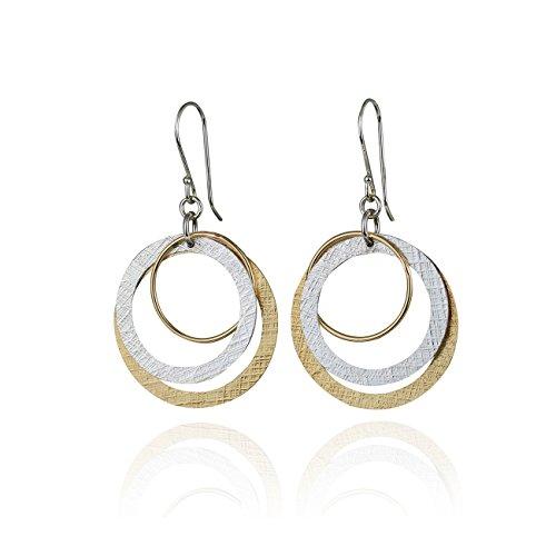 Amazon Com Two Tone Multi Hoop Dangle Earrings 925 Sterling Silver