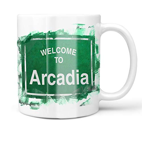 Neonblond 11oz Coffee Mug Green Road Sign Welcome To Arcadia with your Custom Name