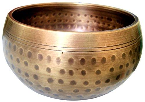 Tibetan Singing Bowls Handmade Brass Golden Meditation Bowl With Mallet and Cushion - Hand Hammered Musical Instrument (Symbol Message Bead)